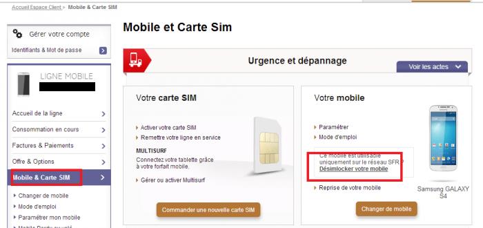 Il est possible de débloquer son téléphone directement depuis l'espace client SFR