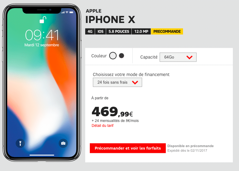 iphone x les pr commandes chez sfr orange et bouygues t l com avant la rupture de stock. Black Bedroom Furniture Sets. Home Design Ideas