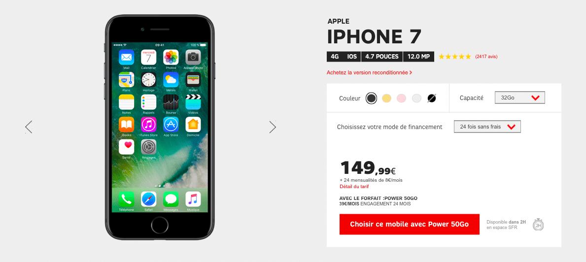 L'iPhone 7 est actuellement proposé à partir de 149,99€ chez SFR.