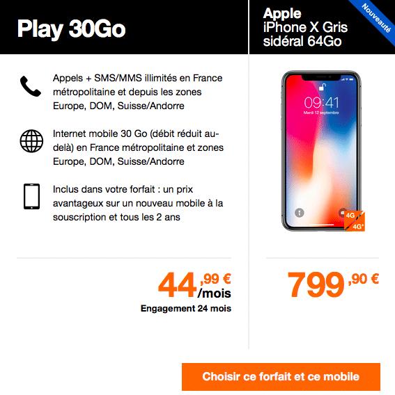 Le forfait Play 30GO est disponible à partir de 44,99€ et permet de payer son iPhone X 799,90€ seulement.