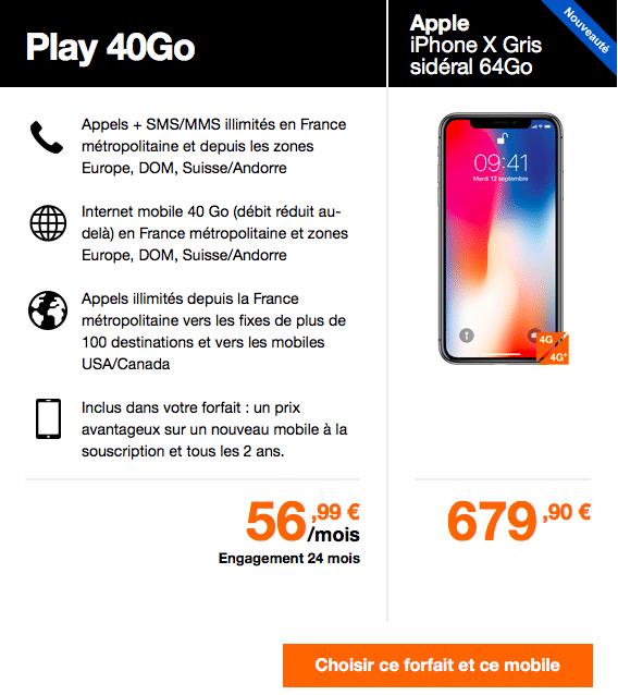 Le forfait Play 40 Go est recommandé par Orange aux acheteurs de l'iPhone X.