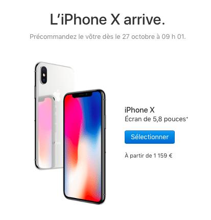 Les précommandes de l'iPhone X ouvriront le 27 octobre.