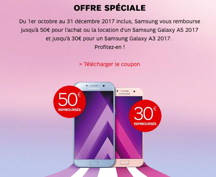 Obtenez entre 30 et 50 de remboursement à l'achat d'un Samsung Galaxy A3 ou A5 chez SFR
