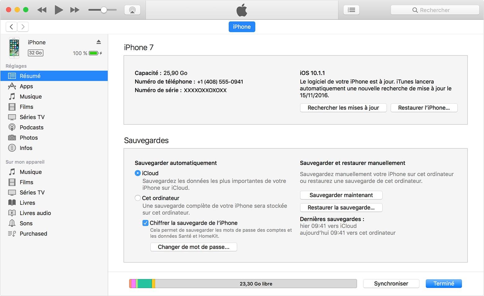 Page des réglages d'un iPhone