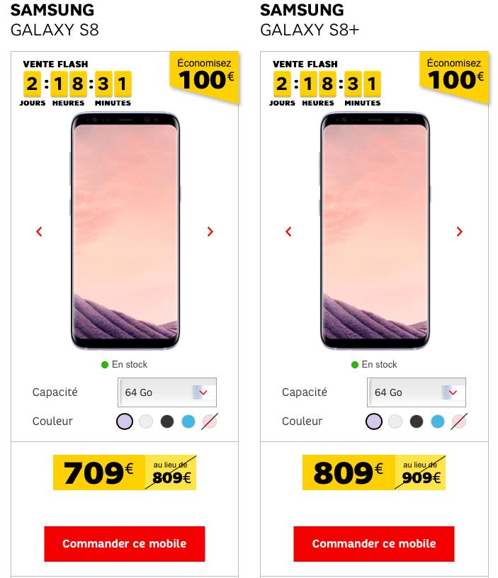 Jusqu'à 100€ de réduction sur les Samsung Galaxy S8 et S8 + en ce moment chez SFR !