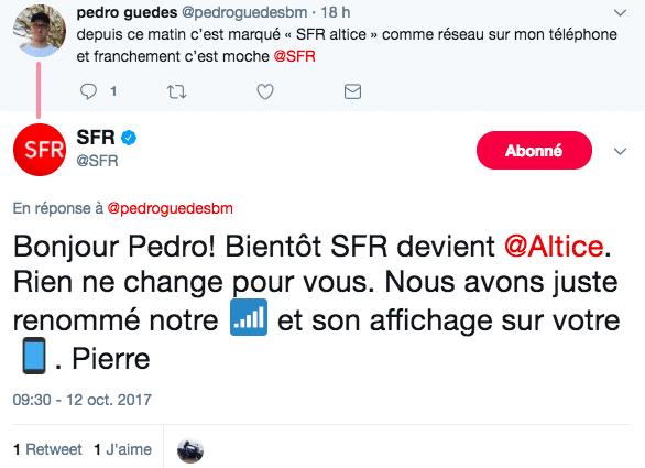 Le réseau des smartphones affiche maintenant SFR altice
