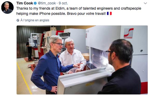 Tim Cook a visité l'usine Eldim dans le Calvados