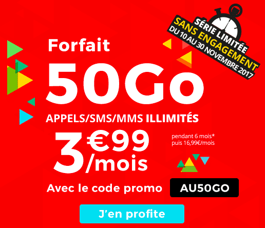 bon plan auchan t l com un code promo pour un forfait 50 go 3 99. Black Bedroom Furniture Sets. Home Design Ideas