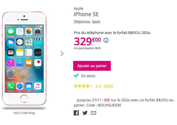 Bouygues Telecom iPhone SE