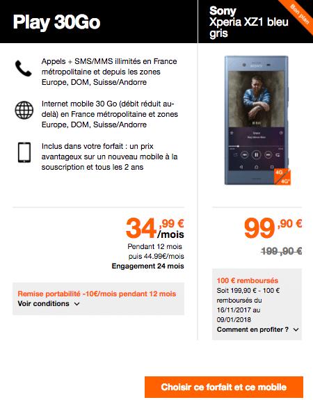 Sony XZ1 Orange