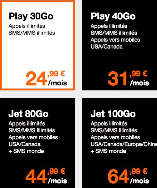 Forfaits Orange Play et Jet