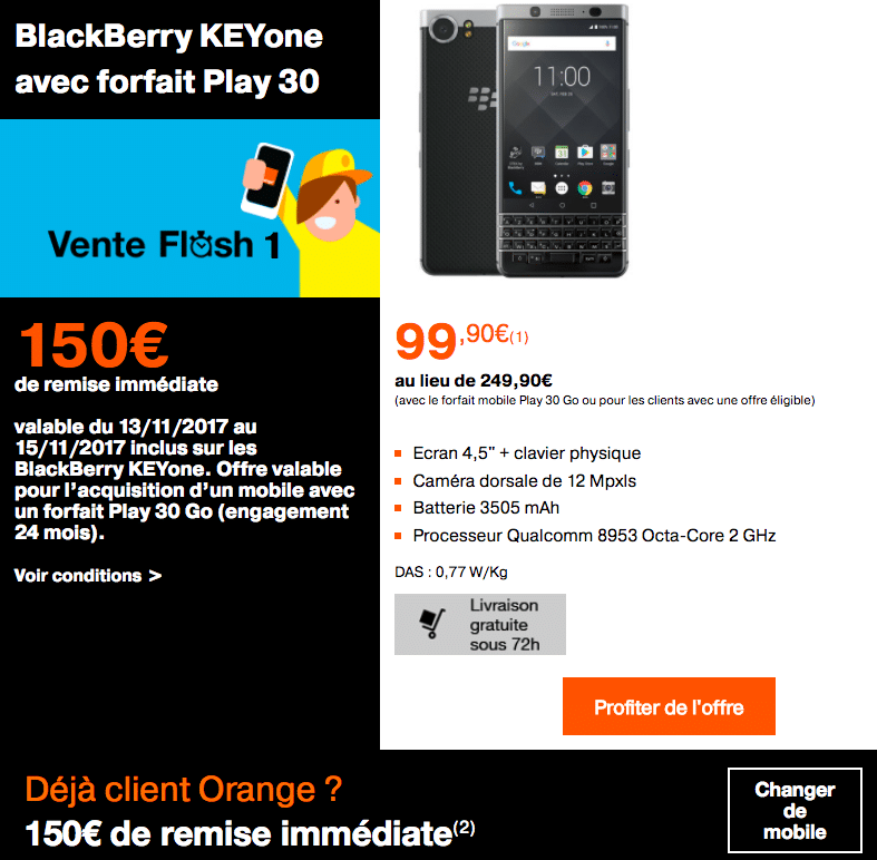 Le blackBerry Keyone avec un forfait Orange