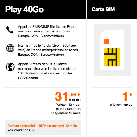 Orange 4G Play 40 forfait