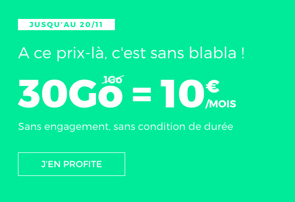 Le forfait 30 Go à 10€ de RED by SFR