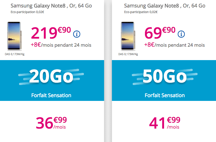 Sensation forfaits galaxy bouygues telecom