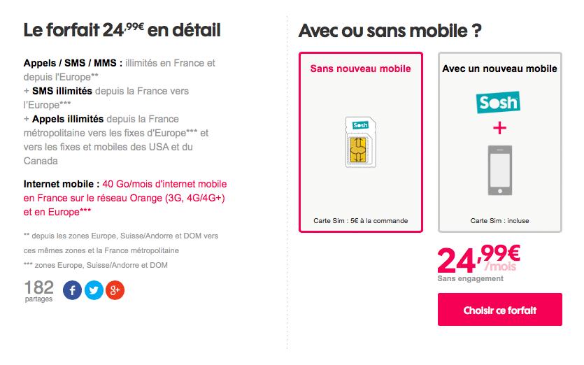 Le forfait Sosh 40 Go est disponible à partir de 24,99€.