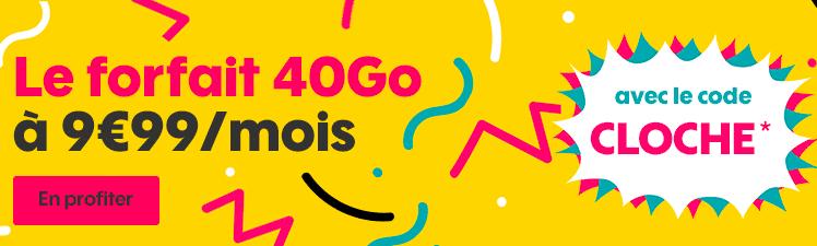 Le forfait 40 Go avec le code CLOCHE de Sosh