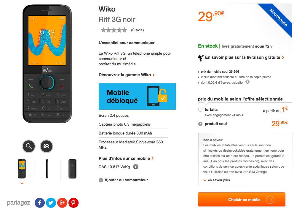 Les clients Orange pourront obtenir gratuitement un Wiko Riff 3G avec leur bon d'achat.