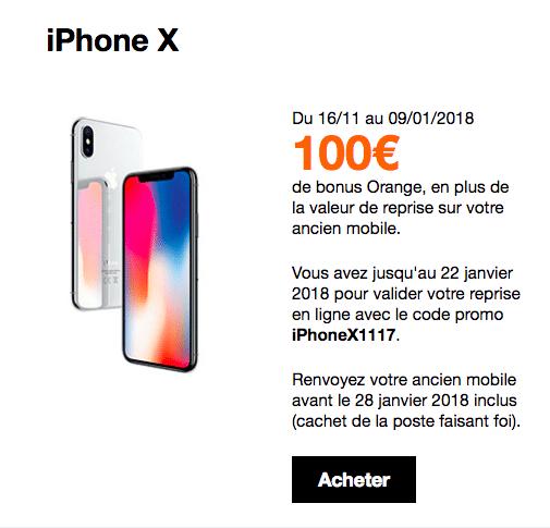 Bonus 100€ sur l'iPhone X avec Orange
