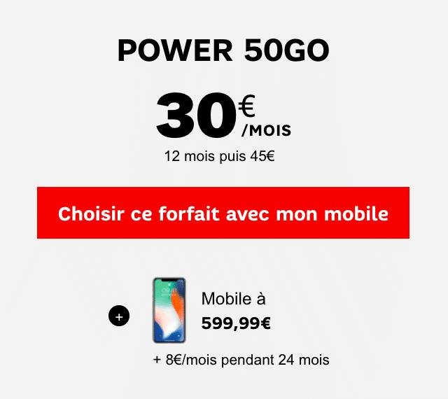 iPhone X et forfait Power 50 Go
