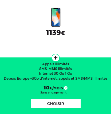 L'iPhone X est à 1139€ chez RED by SFR
