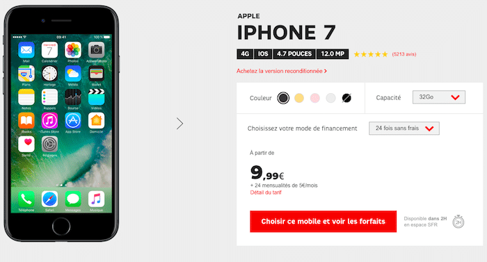 SFR Altice Apple iPhone 7