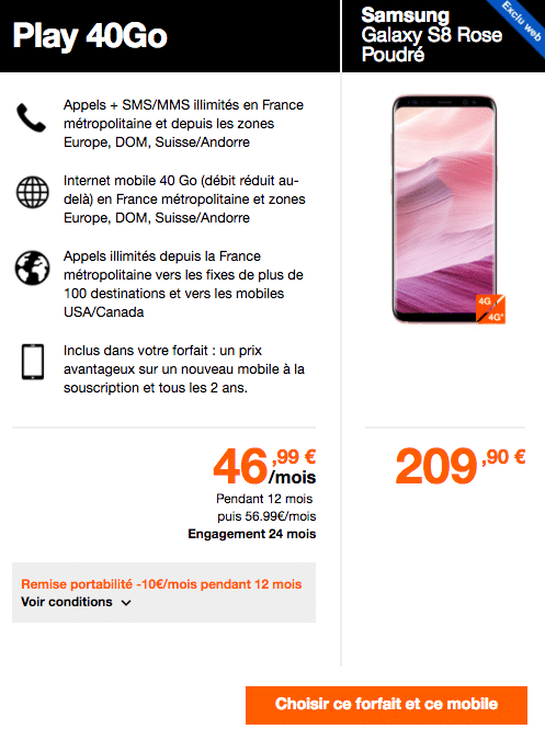 Quel forfait Orange choisir pour son Galaxy S8 ?