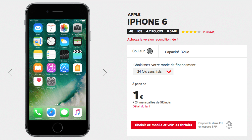 iPhone 6 a 1 euro chez SFR