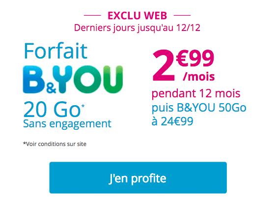 forfait Noël B&You promo