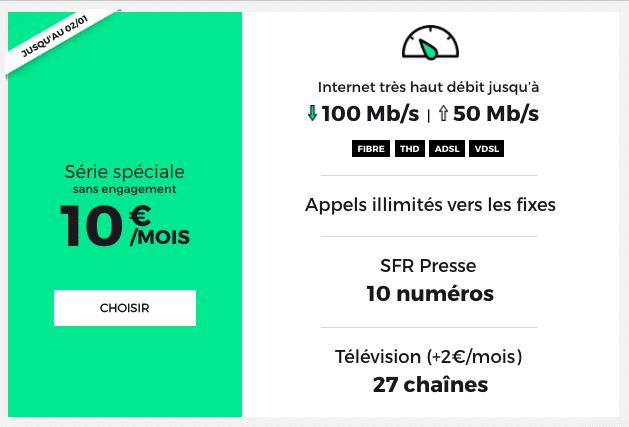 RED by SFR propose la fibre à seulement 10€ par mois jusqu'au 2 janvier.