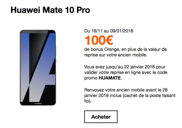 Orange reprise Huawei mate 10 Pro