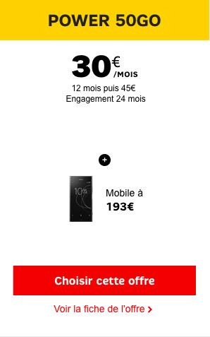 Le Sony Xperia XZ1 est disponible à partir de 193€ avec un forfait SFR Power 50 Go.