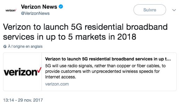 Verizon déclare commencer la commercialisation de la 5G