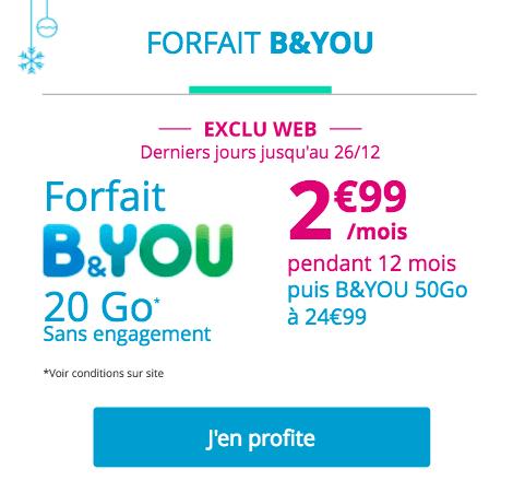 promo forfait B&You Noël