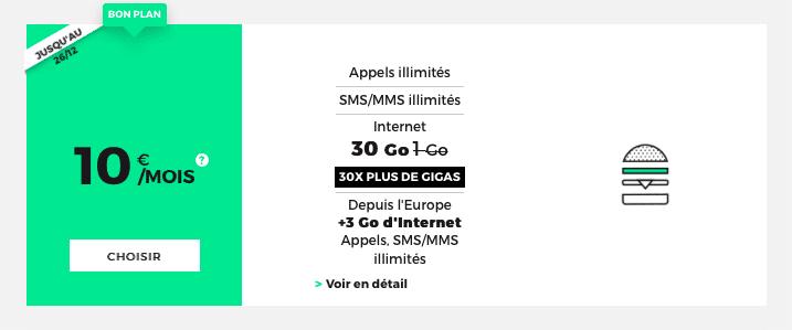 Le forfait RED by SFR 30 Go est à 10€ jusqu'au 26 décembre.