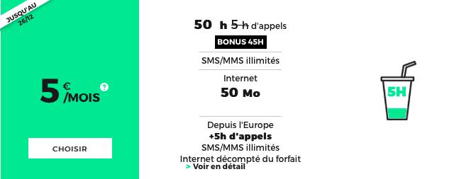 Le forfait 5h de RED by SFR se voit ajouter un bonus 45h