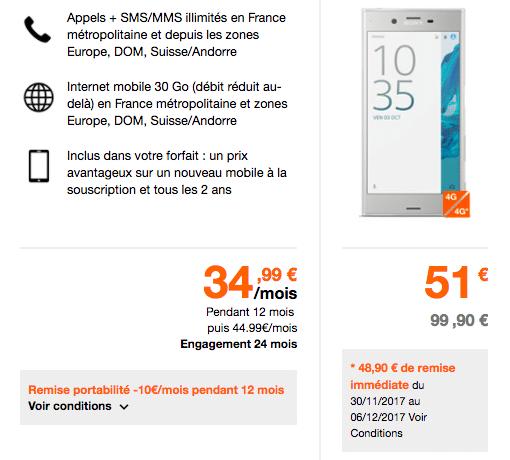 XZ Sony forfait Orange