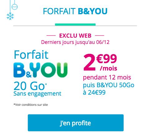 promo forfait B&You 20 Go