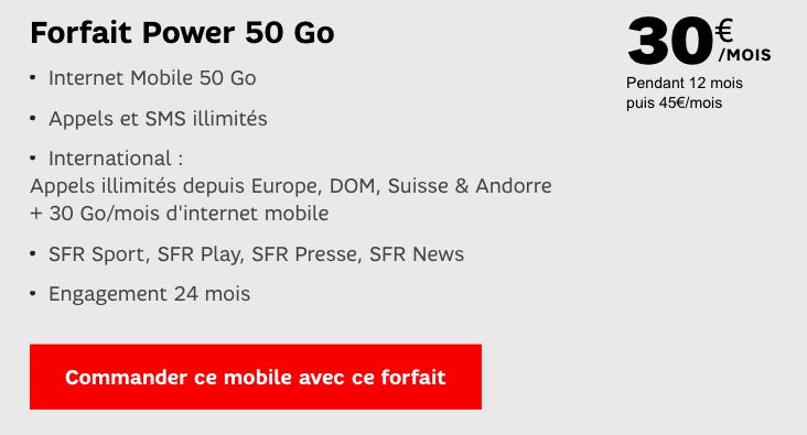 forfait Power 50 Go SFR