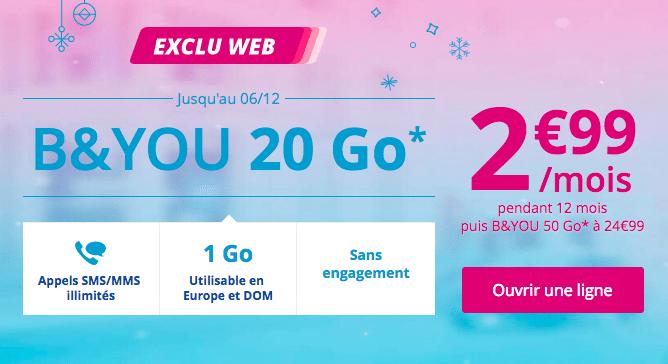 20 Go pour 2,99€ avec B&You