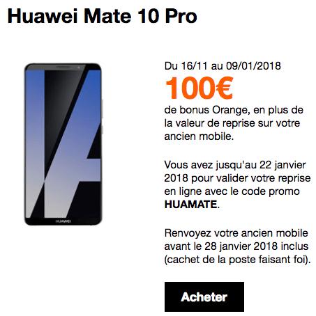 Le bonus reprise de Orange sur le Huawei Mate 10 Pro