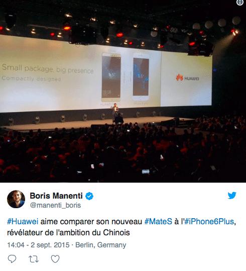 Huawei présentais son Mate S en comparaison avec l'iPhone 6 Plus.