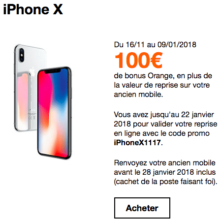 Le bonus reprise de Orange sur l'iPhone X