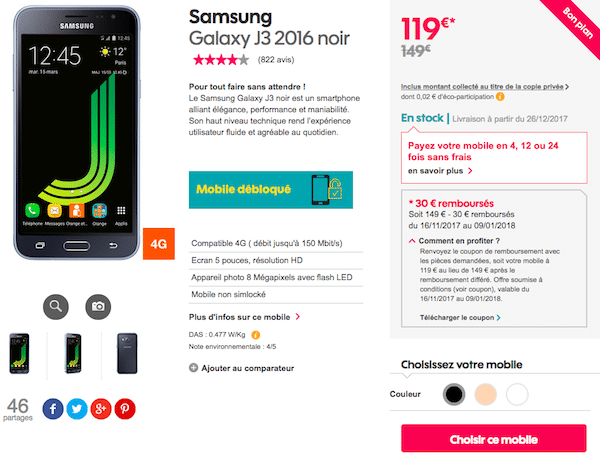 samsung galaxy j3 en promo le mobile 119 chez sosh pour no l. Black Bedroom Furniture Sets. Home Design Ideas