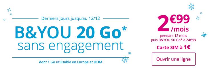 Le forfait B&You 20 Go est à 2,99€ jusqu'au lundi 11 décembre seulement.