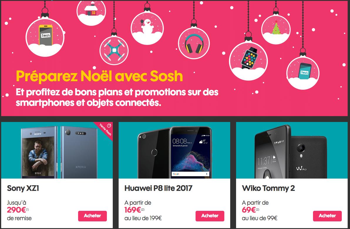 Offres de Noël chez Sosh sur les smartphones