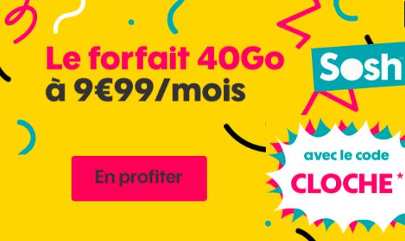 """Le code promo Sosh """"CLOCHE"""" permet d'économiser 15 euros par mois."""
