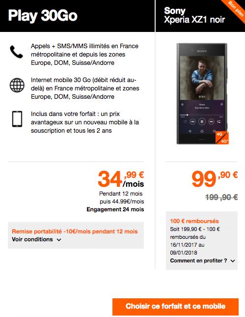 Le Sony Xperia XZ1 est en promotion chez Orange avec Sony