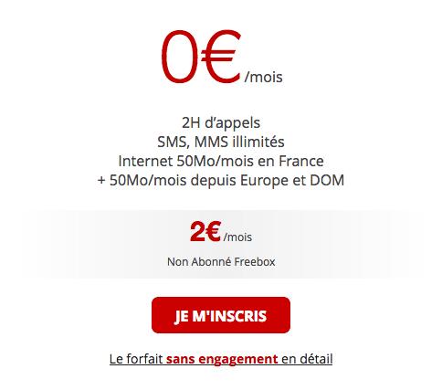 Le forfait mobile de Free entre 0 et 2 euros par mois.