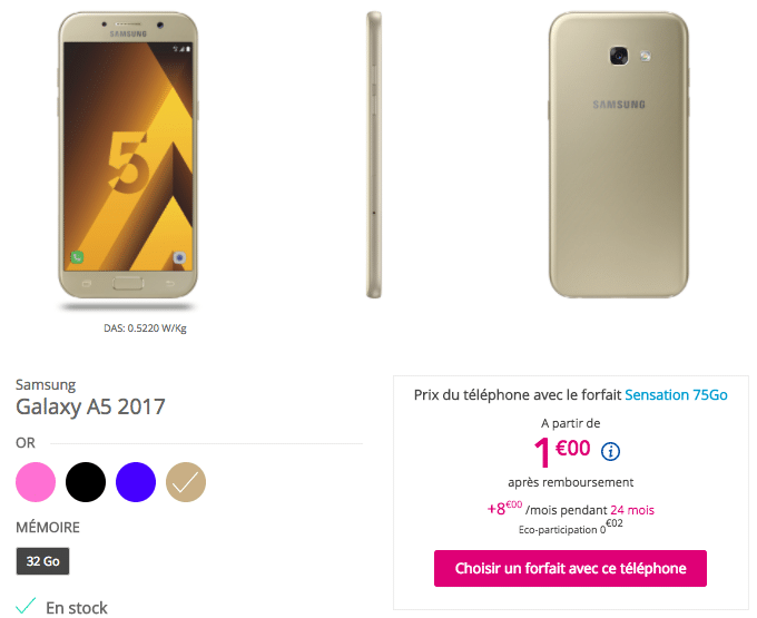 Galaxy A5 avec forfait bouygues telecom